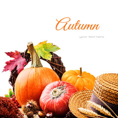 Autumn setting with colofrful pumpkins