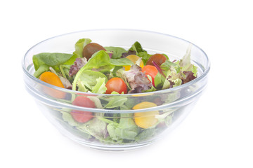 Fresh vitamin salad with tomatoes, spinach,arugula, and lettuce