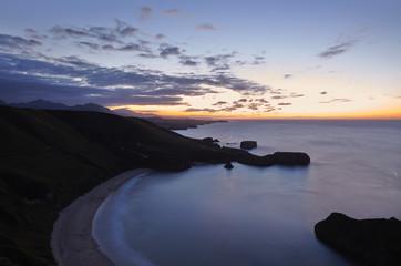 Night view of Torimbia beach.Asturias, Spain.