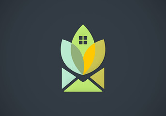 ecology natural house message abstract vector logo