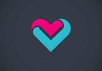 love symbol romance abstract vector logo