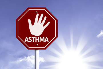 Stop Asthma red sign with sun background