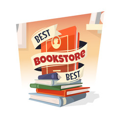 Heap of books with Best Bookstore text. Vector illustration.