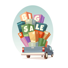Heap of boxes on pickup with Big Sale text. Vector illustration.