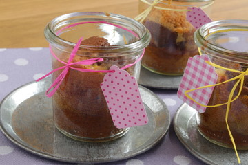 homemade cake in a jar glass