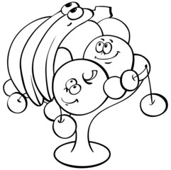 cartoon fruits in vase