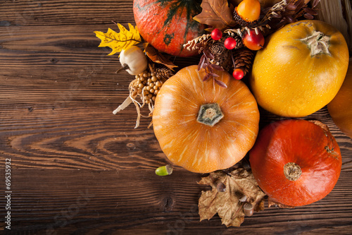 canvas print picture Autumn agriculture products on wood