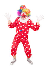 Male clown gesturing with hands