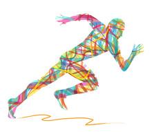 silhouette abstraite de l'homme en marche