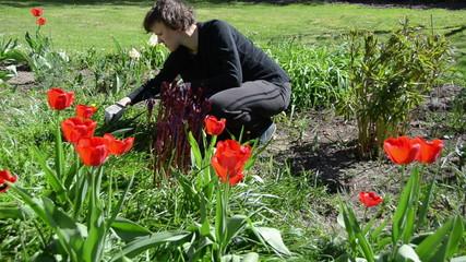 Tired gardener woman weeding flower bed in spring