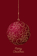 Elegant Christmas ball with floral pattern