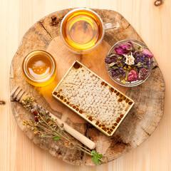 Honey, dried herbs and herbal tea