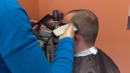 barber woman shave client man head hair