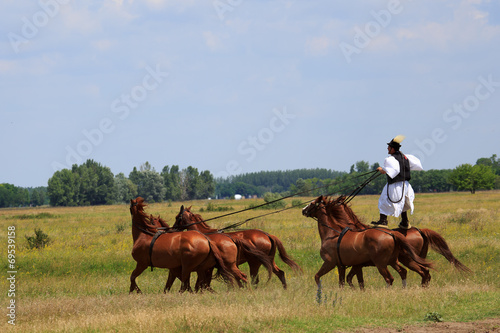 Leinwanddruck Bild horse riding