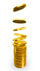 Golden coins falling in pile.
