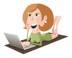 Lying woman with laptop
