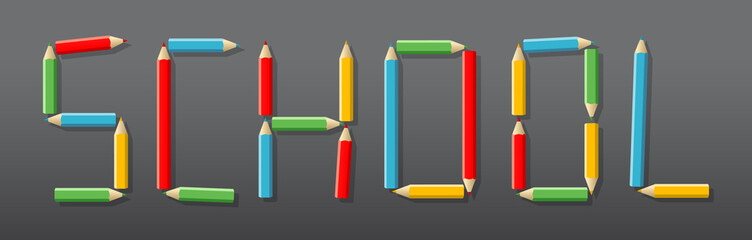 Letters composed of colored pencils