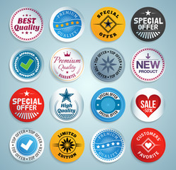 Various stickers, labels and buttons. EPS10.