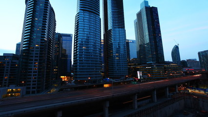 A timelapse view of Toronto, expressway and buildings