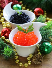 festive appetizer delicacy red and black caviar