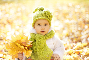 Autumn Baby Portrait In Fall Yellow Leaves, Little Child