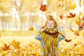 Child Portrait In Autumn Park, Smiling Little Kid Happy Playing