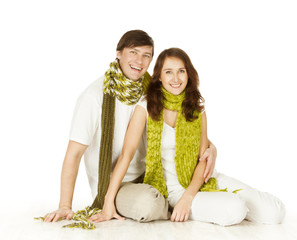 Couple Portrait In Woolen Scarf, Isolated White Background