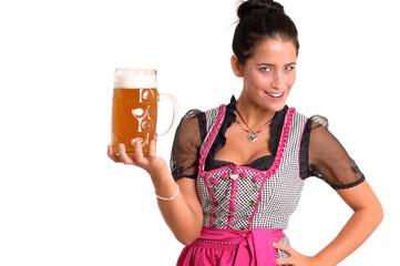 Junge Frau mit Bierkrug im Dirndl