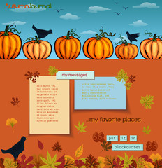 Pumpkins and Crows Autumn Background