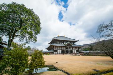 NARA ,JAPAN - MARCH 12 , 2012 :Todaiji's main hall,the Daibutsud