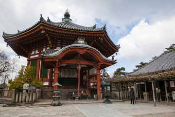 NARA ,JAPAN - MARCH 12 , 2012 :Todaiji's main hall,the Daibutsud
