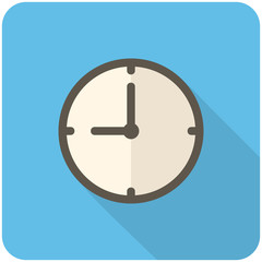 Clock icon (flat design with long shadows)