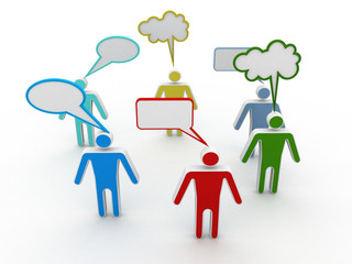 business people network and communicate in speech bubbles