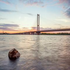 South bridge in Kiev at sunset