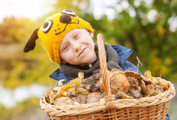 Little pretty boy in funny hat and big basket of mushrooms
