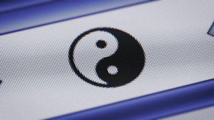 Yin-yang sign on the screen. Looping.