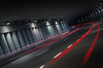 Night traffic in tunnel