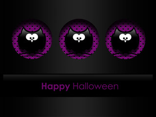 halloween greetings card with black owls