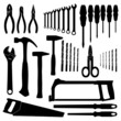 Set vector icons of tools on a white background.