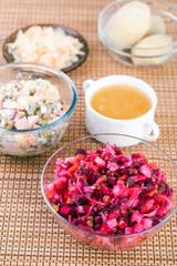 two vegetable salad vinaigrette, olivier bowl