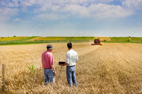 Leinwanddruck Bild Business people on wheat field