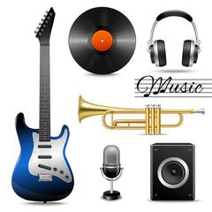 Realistic music icons set