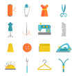 Sewing equipment icons set flat
