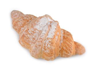 Single fresh croissant isolated on white