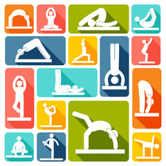 Yoga exercises icons flat