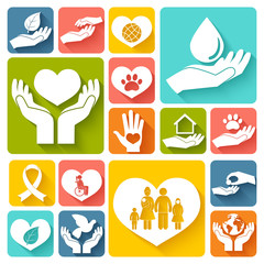 Charity and donation icons flat