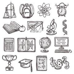 School education sketch icons