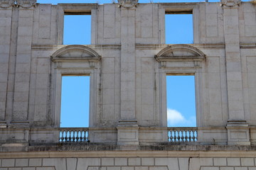 Wall with empty windows in Ajuda National Palace, LIsboa