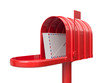 Opened red mailbox with letters isolated