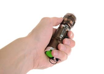 hand holding flashlight isolated on white background